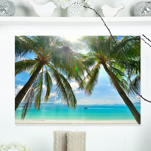 Design Art 'Palm Hanging over Sandy White Beach' Photographic Print on Wrapped Canvas