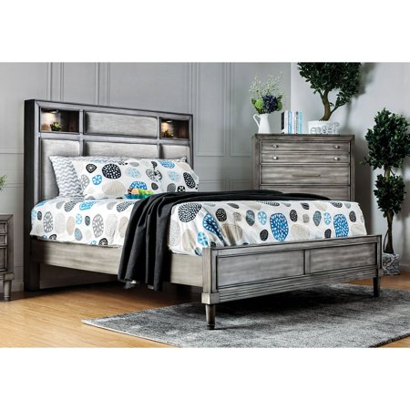 Furniture of America Kaylan Transitional Light Up Fabric Panel Storage Bed ()
