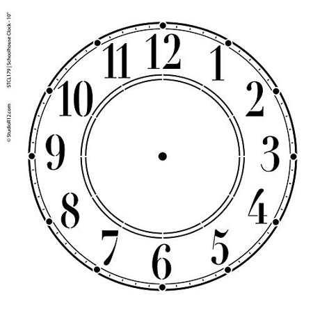 Clock Stencil by StudioR12 | Simple Schoolhouse Clock Face Art - Medium - 11.5 x 11.5-inch Reusable Mylar Template | Painting, Chalk, Mixed Media | Use for Crafting, DIY Home Decor - STCL376](Simple Face Painting)