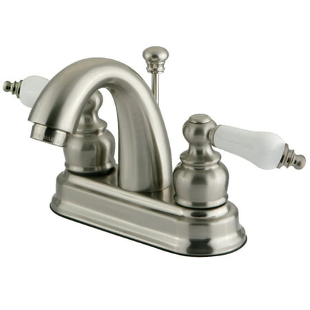 Kingston Brass GKB5618PL 4-Inch Centerset Lavatory Faucet, Brushed Nickel Centerset Lavatory Package