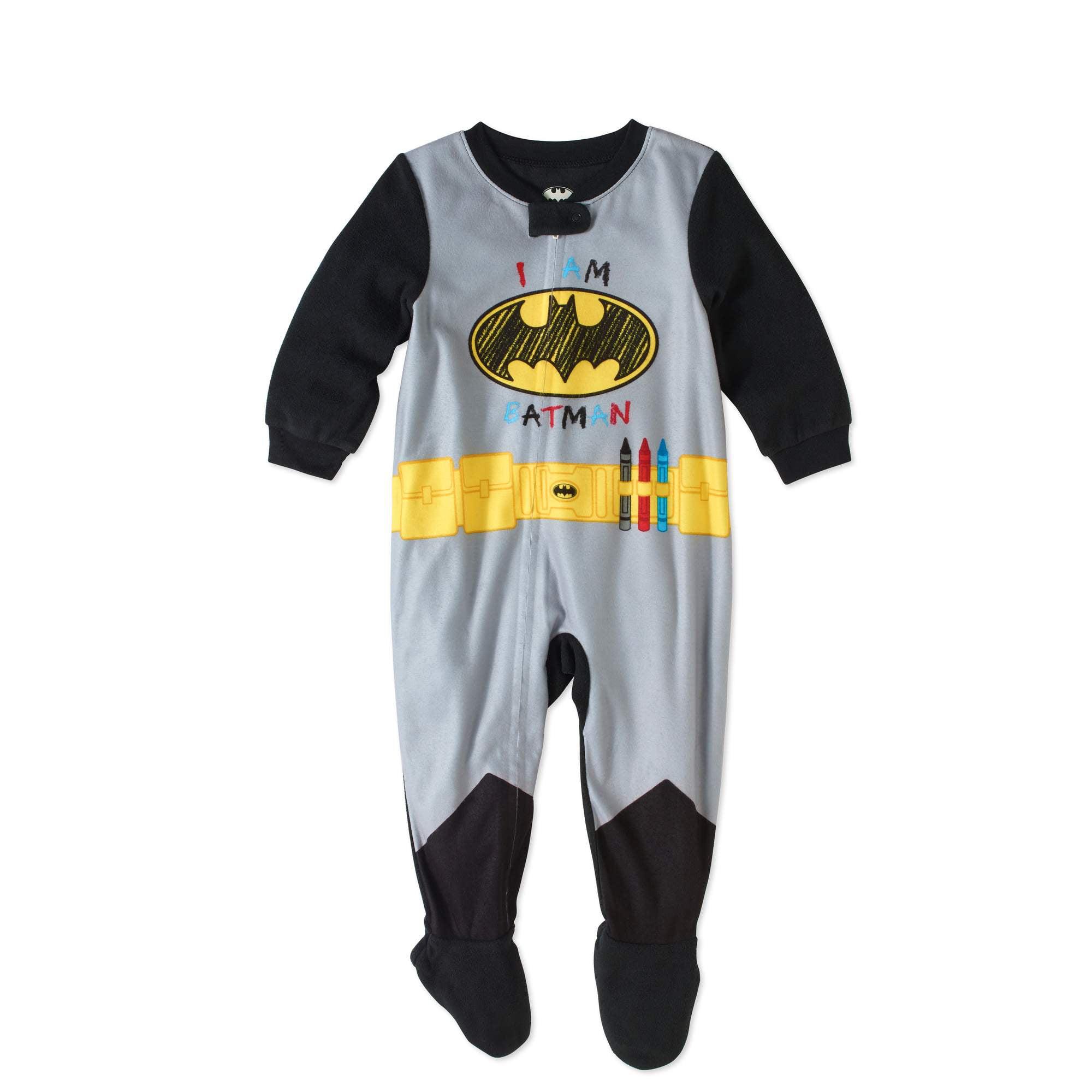 Batman Newborn Baby Boys' Bat Belt Micro Fleece Footed Pajama by Generic