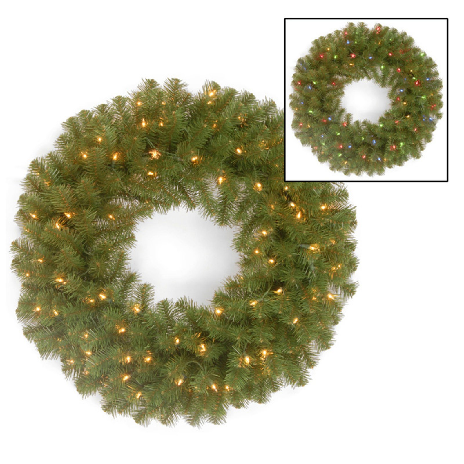 24 in. North Valley Spruce Pre-Lit Battery Operated Dual LED Wreath