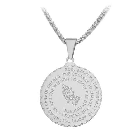 Serenity Prayer Praying Hands Silvertone Anti-Tarnish Coin Design Pendant Necklace, J-185-S