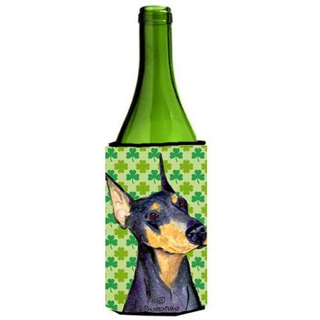 Doberman St. Patricks Day Shamrock Portrait Wine bottle sleeve Hugger - 24 oz. - image 1 de 1