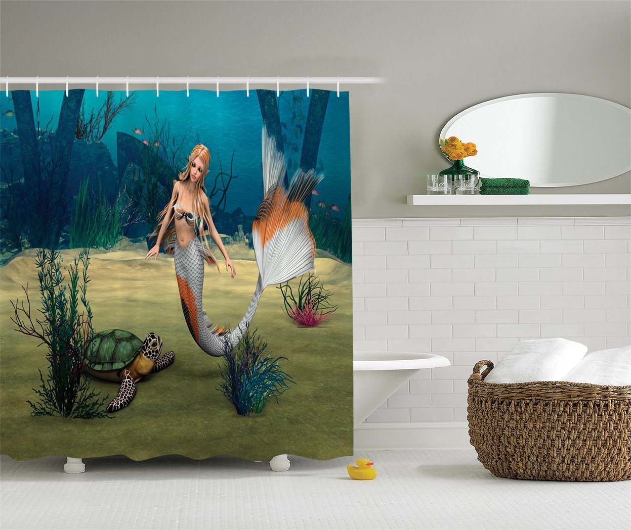 Cute Mermaid and Turtle Fantasy World in Ocean Design Fabric Shower Curtain