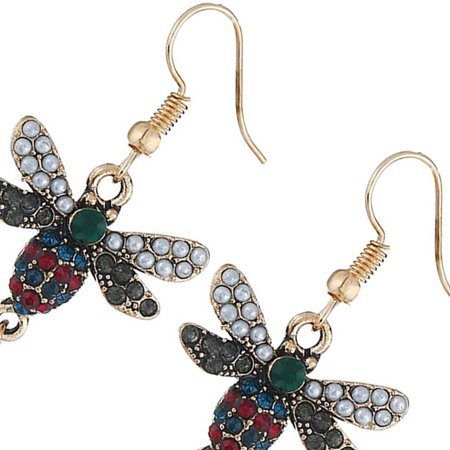 Ustyle Women Bee Rhinestone Imitation Pearl Earrings Female All-match Metal Ear Hook Gift Lady Dangle Drop - image 3 of 7