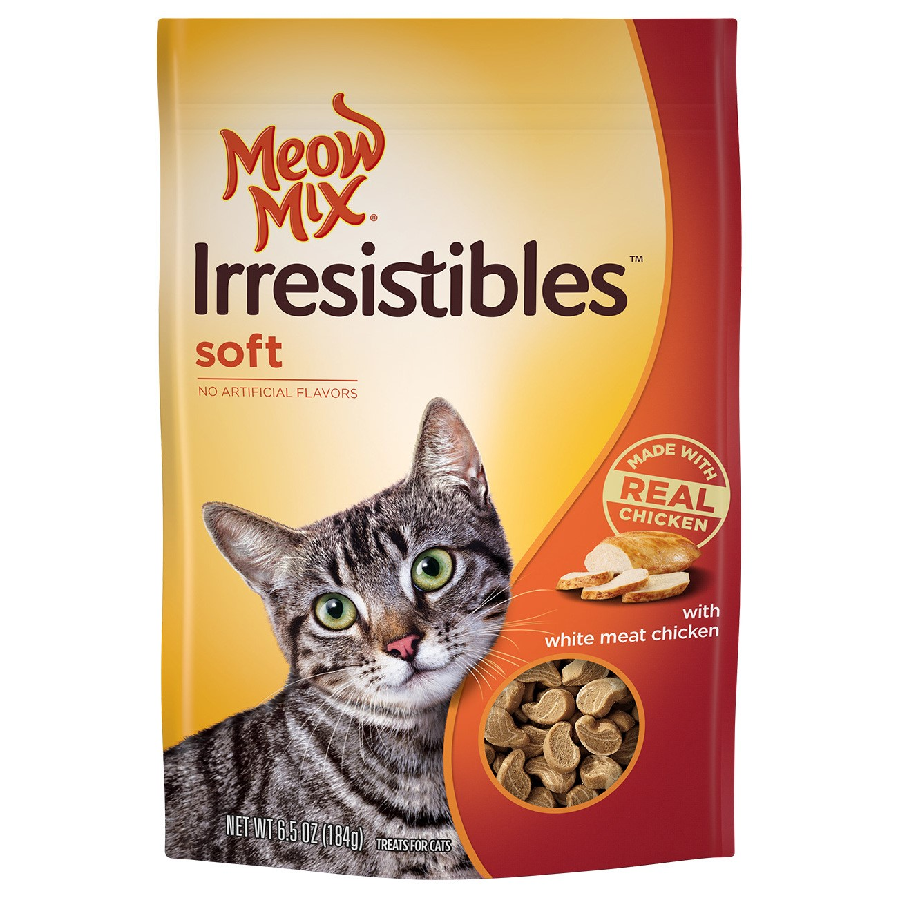 Meow Mix Irresistibles Cat Treats - Soft With White Meat Chicken, 6.5-Ounce Bag
