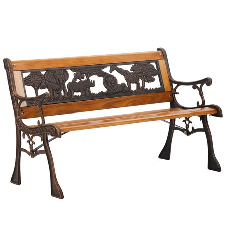 Patio Garden Bench Park Porch Chair Cast Iron Hardwood Furniture Animals