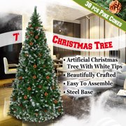 Green 7' Snow Tipped Christmas Tree with pinecones Artificial Realistic Natural Branches -Unlit With Steel Stand (7' with 1000 Tips and 38 pinecones)