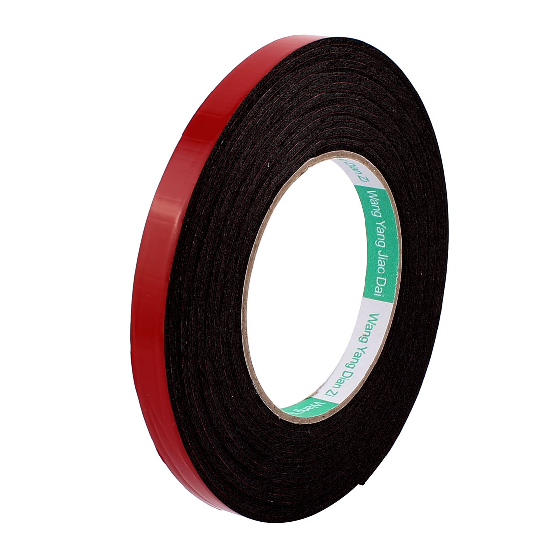 Unique Bargains Black Strong Double Sided Adhesive Tape Sponge Tape 12MM Width 5M Long
