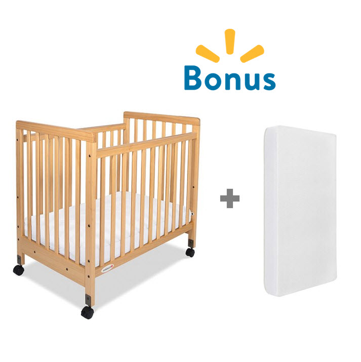 Foundations SafetyCraft Portable Crib + Mattress Natural by Foundations