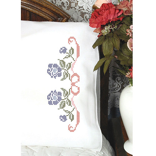 Stamped Perle Edge Pillowcase, Floral, 2pk