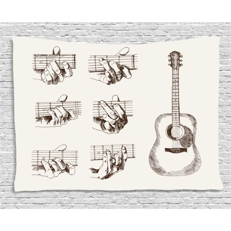 - Guitar Tapestry, Sketch Art Style Instrument and Chords Acoustic Flamenco Technique Skill Talent, Wall Hanging for Bedroom Living Room Dorm Decor, 60W X 40L Inches, Cream Brown, by Ambesonne