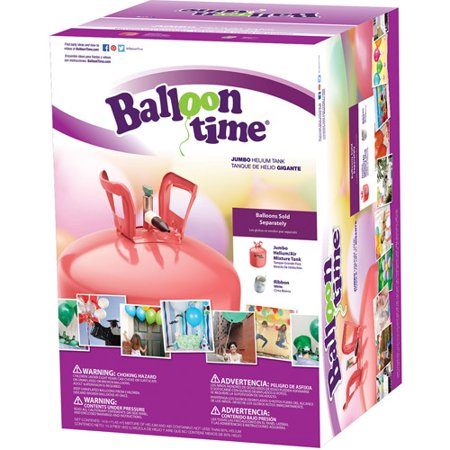Balloon Time 12in Jumbo Helium Tank, Includes Ribbon - Blow Up Balloons Without Helium