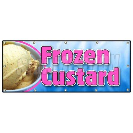 FROZEN CUSTARD BANNER SIGN ice cream cones sundae banana split homemade - Banner Frozen