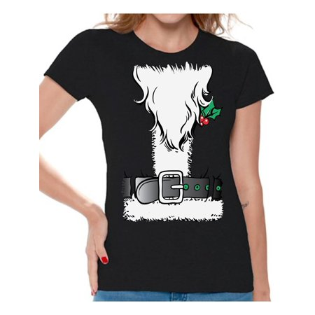 Awkward Styles Christmas Tuxedo Shirt for Women Santa Suit Holiday Party Xmas Santa Claus Beard Graphic Holiday Party Tee For Ladies Ugly Christmas Party Shirt (Beards Shirts For Women)