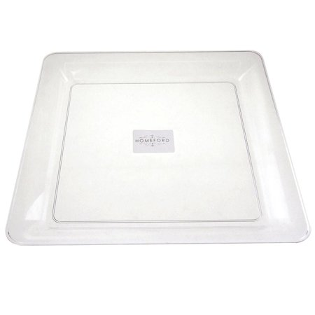 Clear Plastic Square Serving Tray, 12-Inch