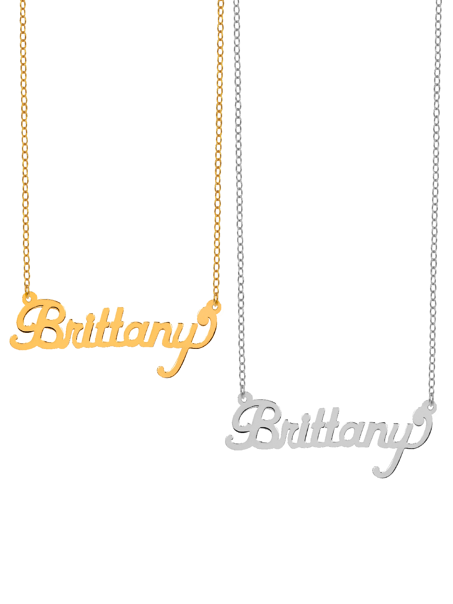 "Mother's Day Special Bundle BOGO. Buy One Get One at 50% Off of the Personalized ""Brittany"" Polished Name Necklace with an 18 inch Link chain in Sterling Silver or 14K Gold Plated Sterling Silver"
