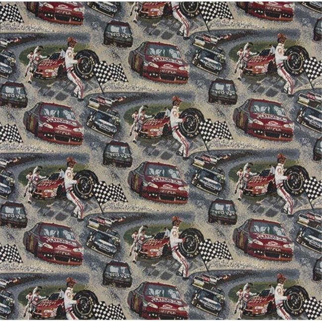 Designer Fabrics A012 54 in. Wide , Racing Cars, Pit Crew, Finish Checkered Flag, Race Track, Themed Tapestry Upholstery Fabric