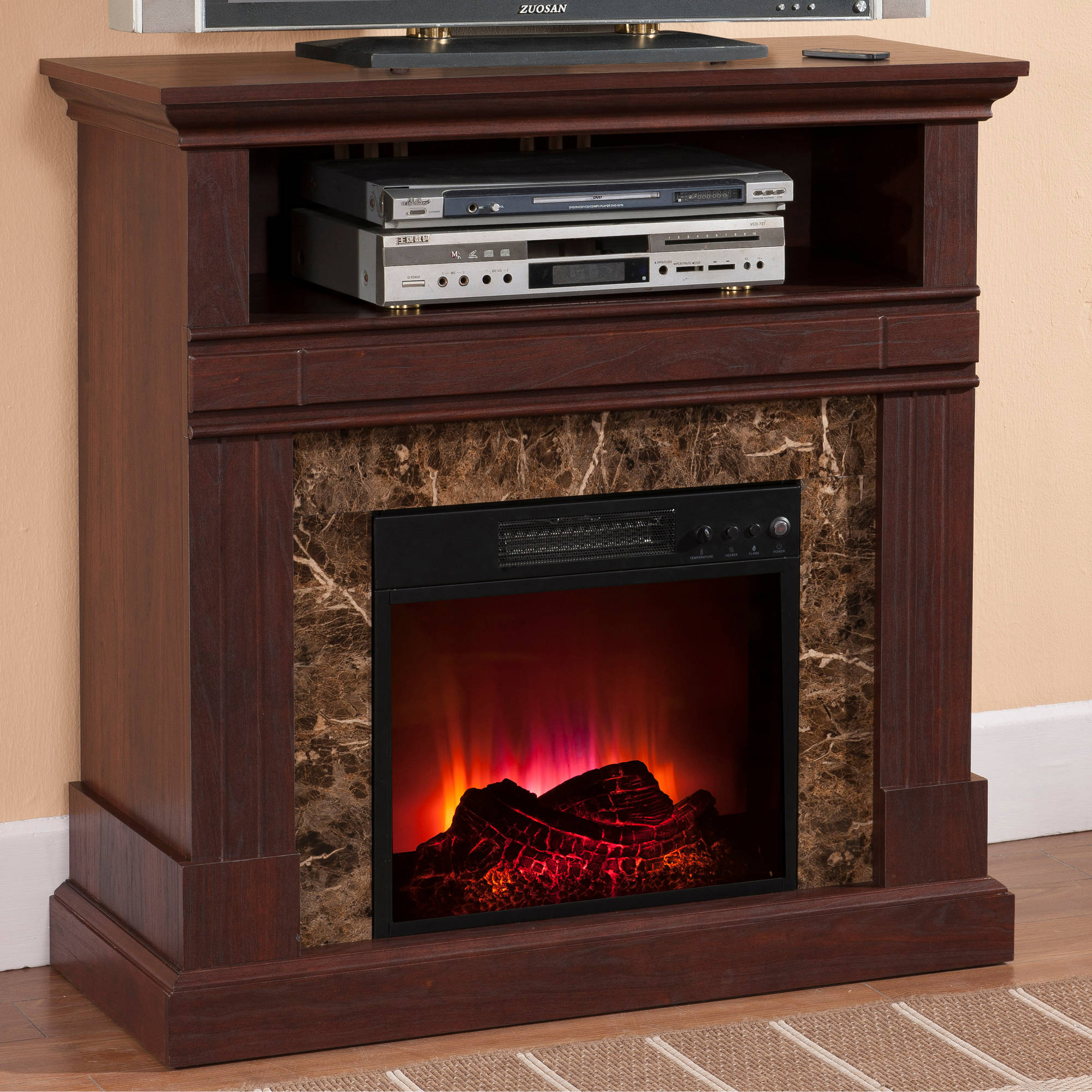 "Prokonian Electric Fireplace with 36"" Mantle B003, Deep Walnut"