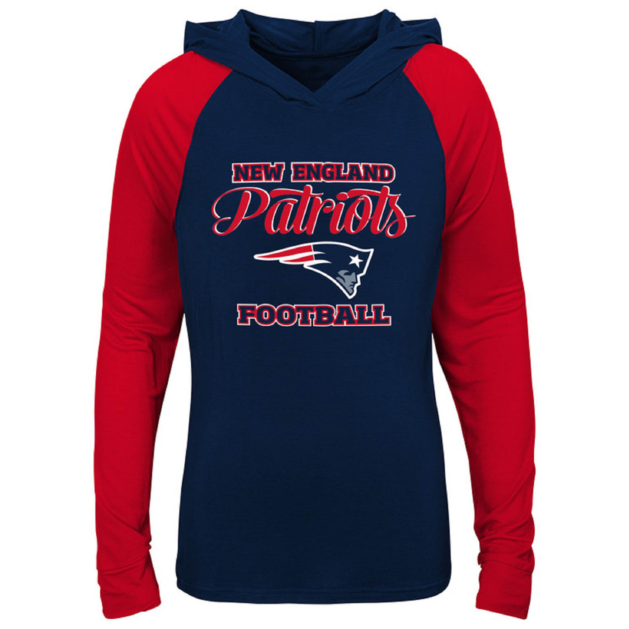 separation shoes 9205f d1b6b Girls Youth Navy/Red New England Patriots Hooded Long Sleeve T-Shirt