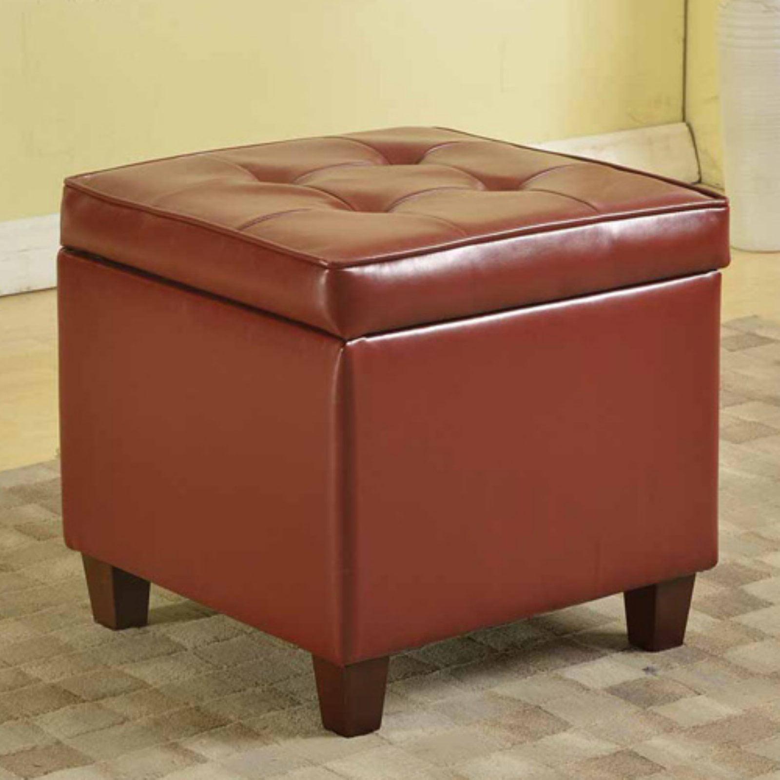 Kinfine USA Square Tufted Leatherette Storage Ottoman by Kinfine USA Inc