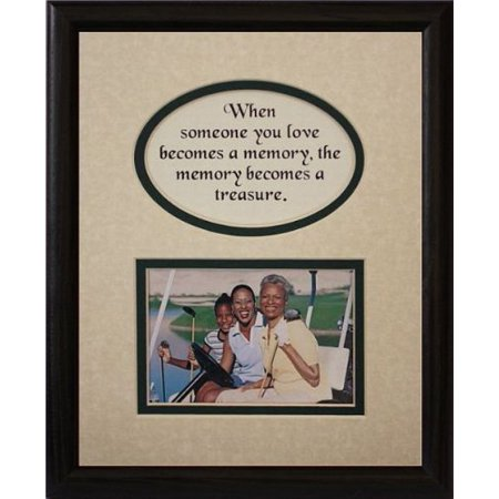 8X10 Memory Is A Treasure Picture & Poetry Photo Gift Frame ~ Cream/Hunter Green Mat With Black Frame * Memorial * Bereavement * Sympathy * Condolence Picture And Poetry Keepsake Gift Frame