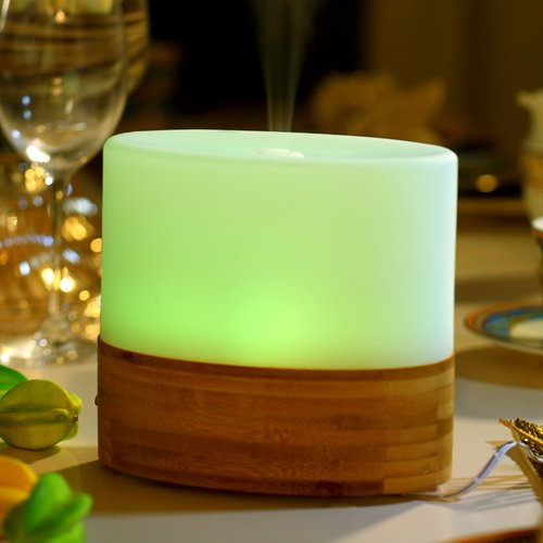 Ultrasonic Aroma Diffuser/Humidifier with Bamboo Base