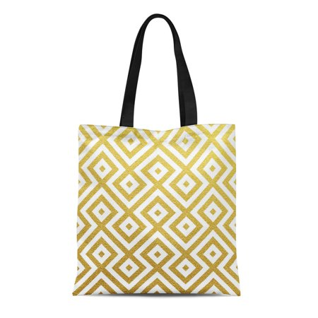 ASHLEIGH Canvas Tote Bag Yellow Pattern Geometric Gold on Christmas Golden Luxury Vip Durable Reusable Shopping Shoulder Grocery Bag