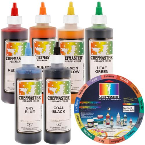6 Color Chefmaster Liqua-Gel Cake Coloring Set, 10.5 oz. Kit by US Cake Supply