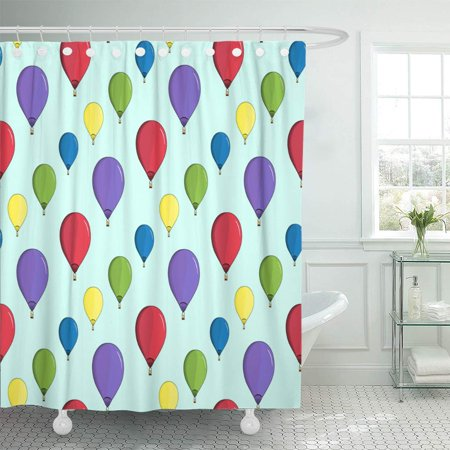 KSADK Green Adventure Colorful Hot Air Balloons on Blue Red Baby Basket Cartoon Cute Shower Curtain Bathroom Curtain 66x72