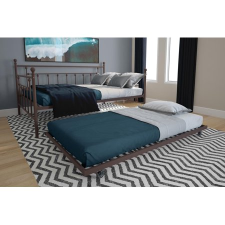 RealRooms Maya Full Size Daybed and Twin Size Trundle, Bronze Metal ()