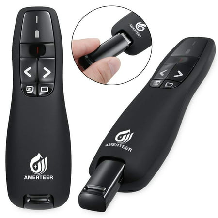 AMERTEER RF 2.4GHz Wireless USB PowerPoint PPT Presenter Presentation Remote Control Laser Pointer Clicker Flip Pen for Keynote/PPT / Mac/PC