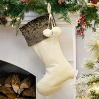 product image belham living faux fur trim velvet christmas stocking 185