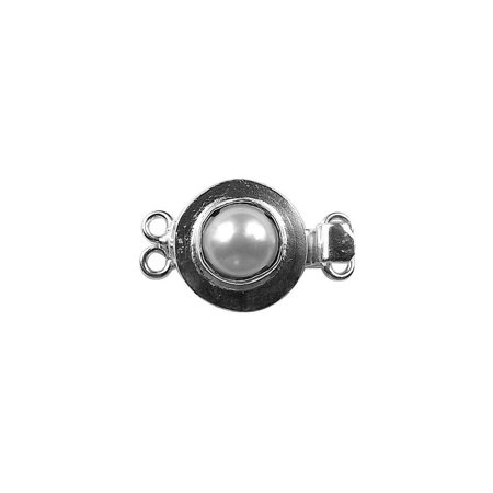 CSF-254-PE-2H Silver Overlay Pearl Clasp 2 Hole