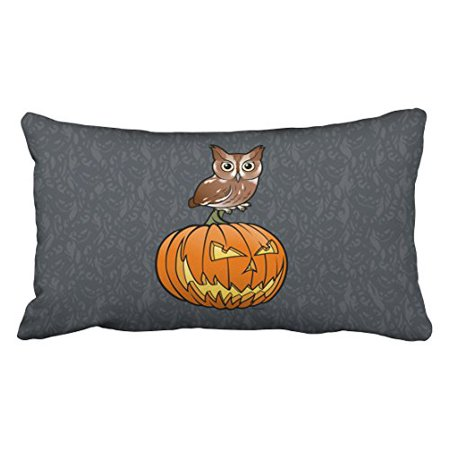 WinHome Vintage Halloween Owl Stand On Pumpkin Paisley Print Pattern Polyester 20 x 30 Inch Rectangle Throw Pillow Covers With Hidden Zipper Home Sofa Cushion Decorative Pillowcases - Owl Halloween Pumpkin Patterns