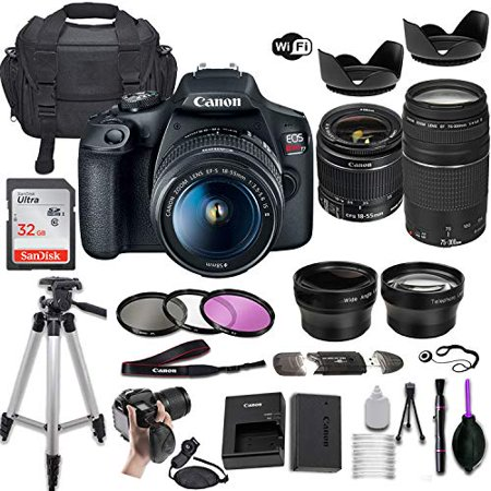 Canon EOS Rebel T7 DSLR Camera w/EF-S 18-55mm f/3.5-5.6 is II & EF 75-300mm f/4-5.6 III Lens + Wide-Angle and Telephoto Lenses + Portable Tripod + Memory Card + Deluxe Accessory