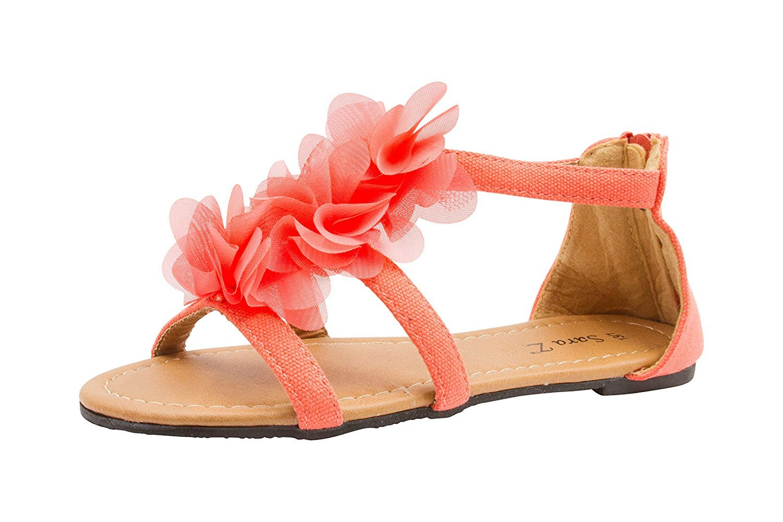 962245318e3c Sara Z - Sara Z Girls Double T Strap Flat Sandal with Back Zip Chiffon  Ruffle Top Coral Size 2 3 - Walmart.com