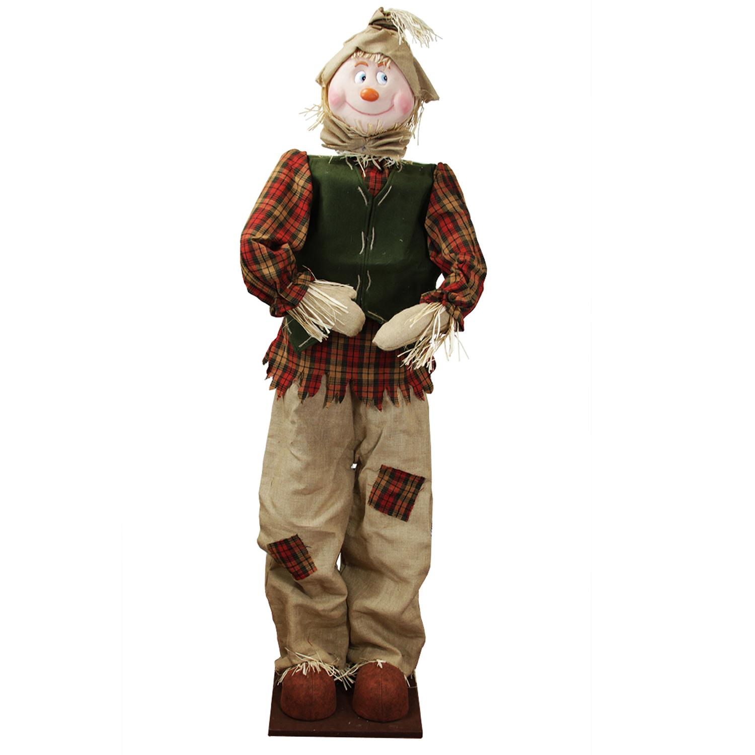 Huge 6 Foot Life-Size Plush Autumn Scarecrow - Sitting or Standing