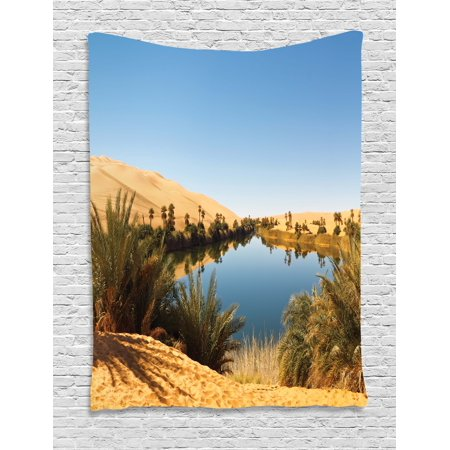 Desert Tapestry, Idyllic Oasis Awbari Sand Sea Sahara Libya Pond Lush Arid Country, Wall Hanging for Bedroom Living Room Dorm Decor, 60W X 80L Inches, Pale Blue Green Sand Brown, - Sahara Bedroom