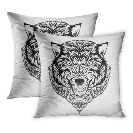 ECCOT Wolf Tribal Tattoo Color Beast Courage Leader Beauty PillowCase Pillow Cover 16x16 inch Set of 2](Beauty And The Beast Tattoos)