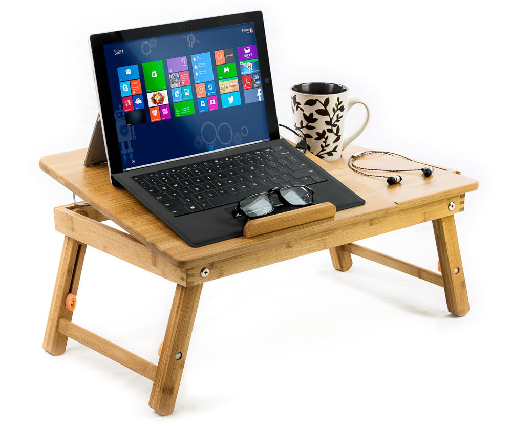 100% Bamboo Adjustable Laptop Table Computer Desk Tilting Top W/ Drawer Bed  Tray   Walmart.com
