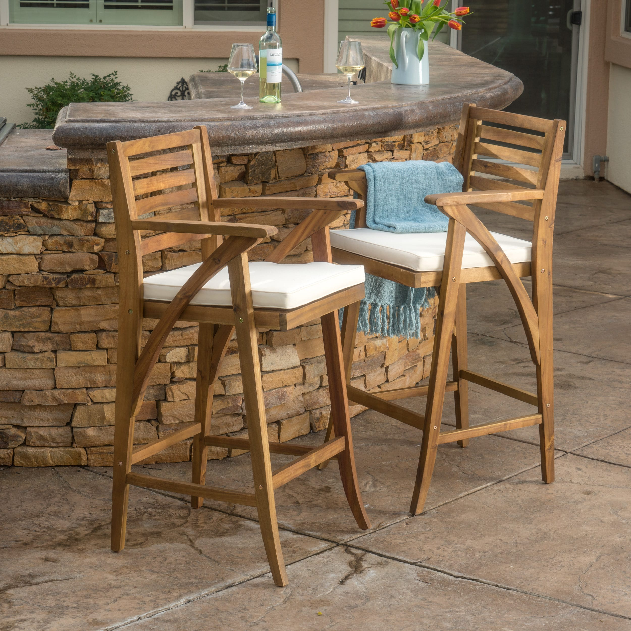 Christopher Knight Home Hermosa Outdoor Acacia Wood Barstool with Cushion (Set of 2) by