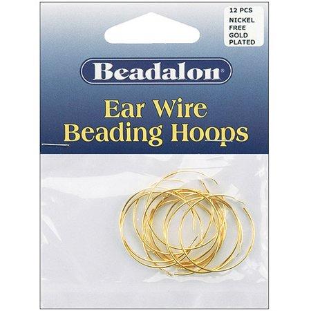 Square Beaded Hoops - Beadalon Ear Wire Beading Hoops Medium 25mm, 12-Pack