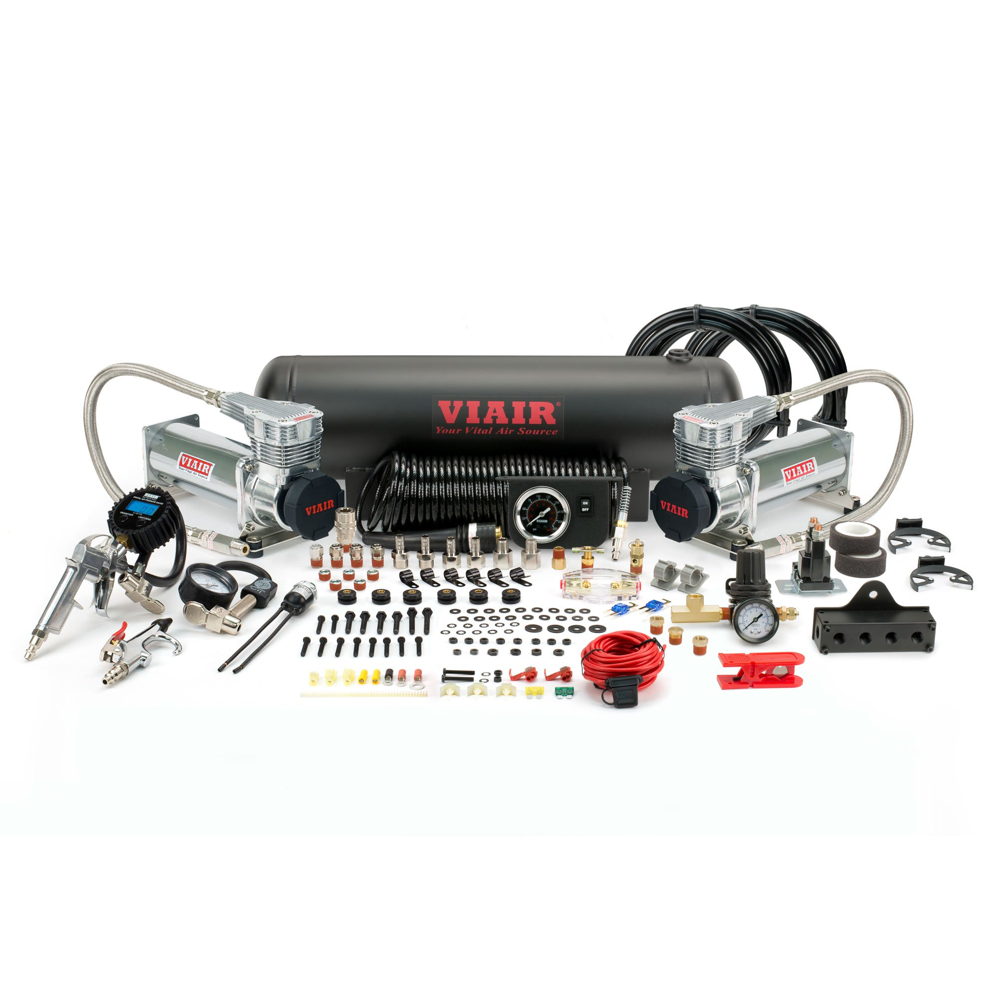 VIAIR 485C Gen 2 200 PSI Dual Onboard Air OBA Electric Compressor Kit, Platinum