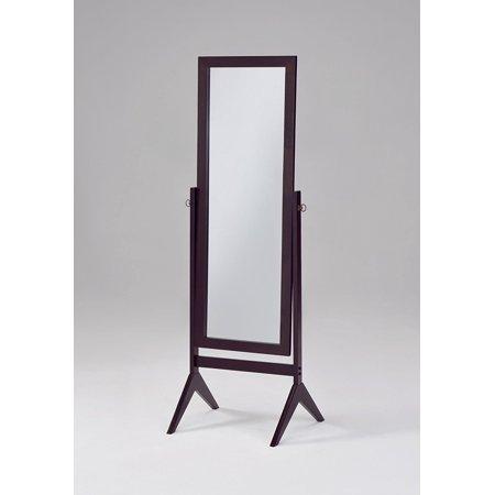 Bedroom Mirror Espresso Wood Cheval Length Floor Standing Mirrored