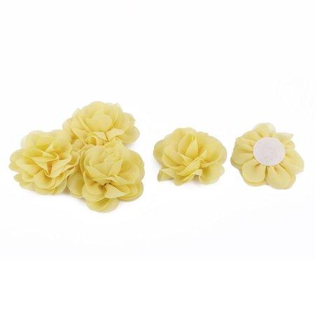 Diy Ribbon Flowers (Chiffon Rose Handmade DIY Ornament Ribbon Flower Yellow 80 x 80mm)