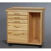 SMI TB550 Oak Taboret With Side Storage, 5-Drawer, Classic, Natural Oak Finish