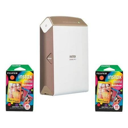Fujifilm instax SHARE SP-2 Smartphone Printer, 320dpi, Gold - Bundle With 2 Pack FujiFilm Instax Mini Rainbow Film, 10 Sheets