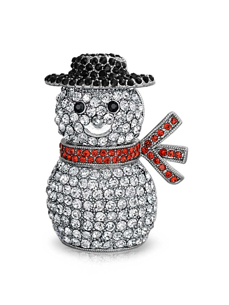 Crystal Christmas Snowman Holiday Brooch Pin Rhodium Plated by Bling Jewelry